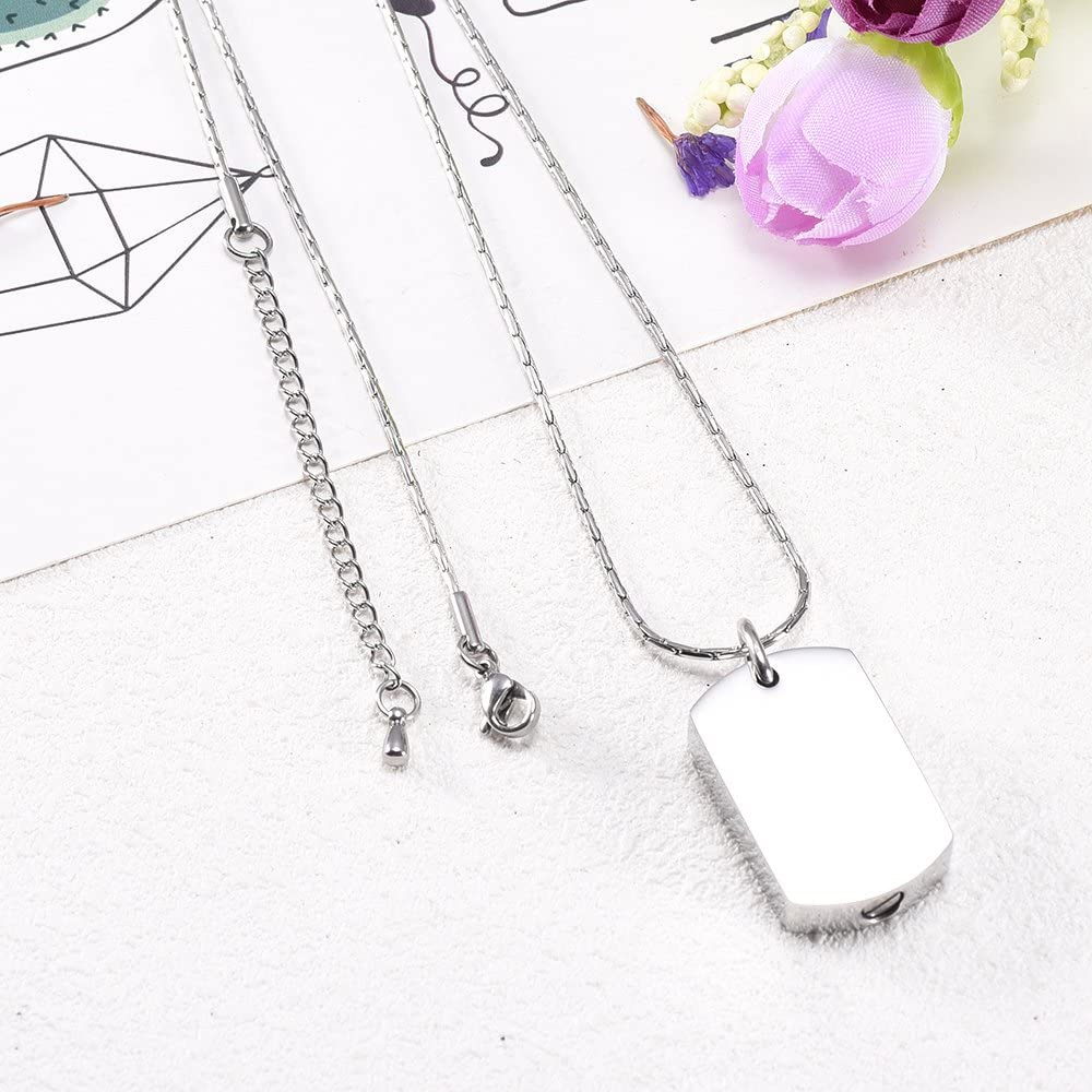 constantlife Cremation Jewelry for Ashes Square Shape Memorial Urn Pendant Dog Tag Necklace Personalized Engraving RIP Keepsake
