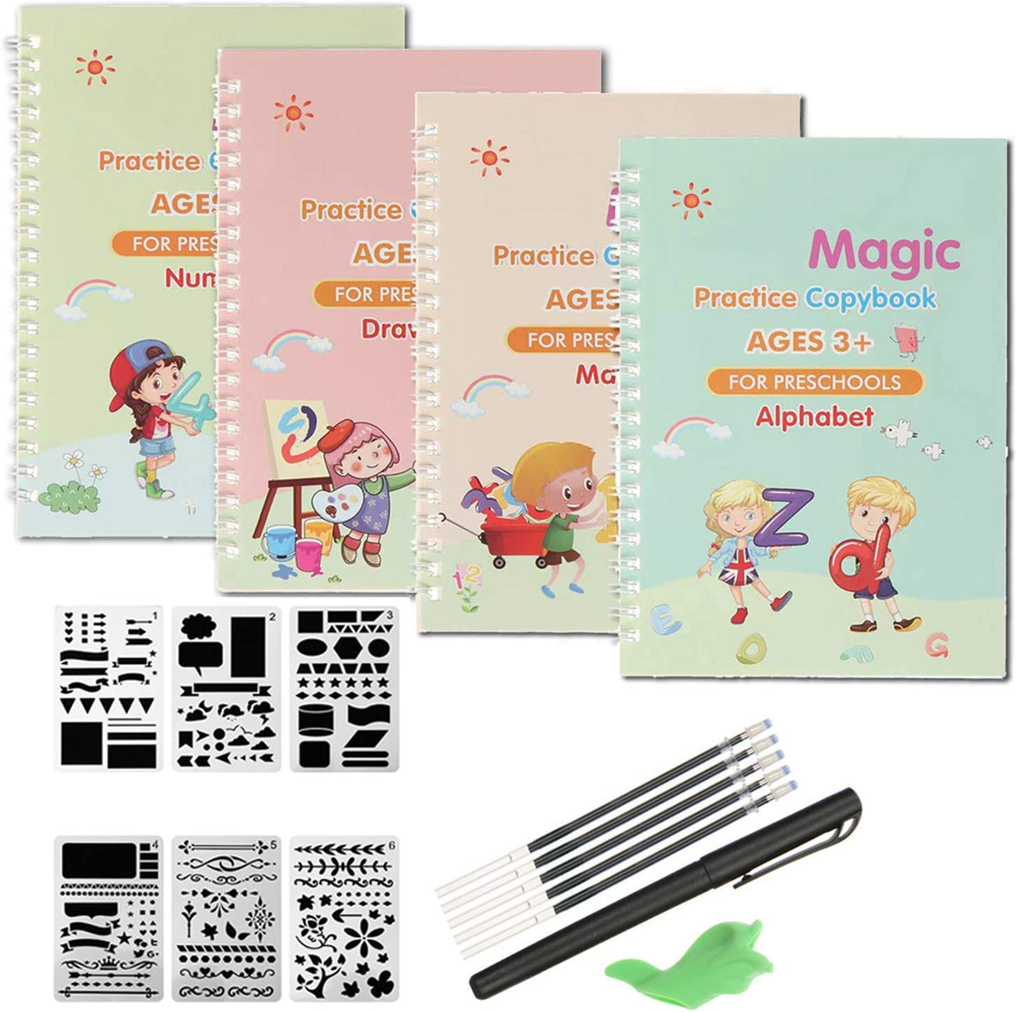 4 Pack Magic Practice Copybook,English Magic Calligraphy That Can Be Reused Handwriting Copybook Tracing Book Set for Kid Calligraphic Letter Writing Drawing Math Writing Paste Board with Pen