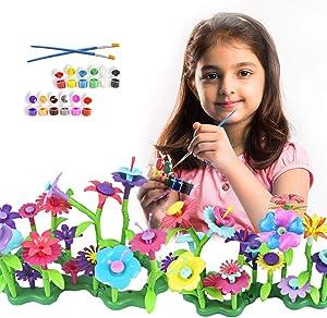 Byserten Flower Garden Building Toy for Girls - Garden Craft Set Stem Toy Gardening Pretend Play Activity Playset Children Christmas Birthday Gifts for 3 4 5 6 Year Old