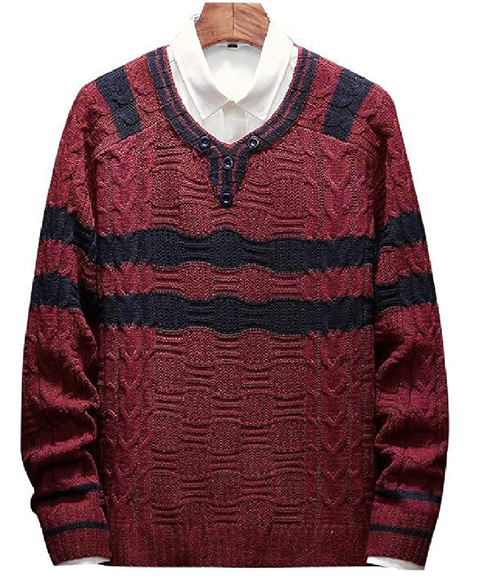 ouxiuli Mens Vogue Pullover Plus-Size Casual Autumn Long-Sleeved Sweaters