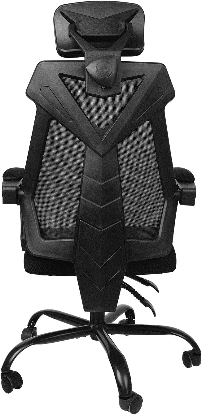 AuAg Home Office Chair Mesh High Back Swivel Desk Chair Rolling Chair Lumbar Support Recliner Adjustable headrest and Heights Gaming Chair -Black