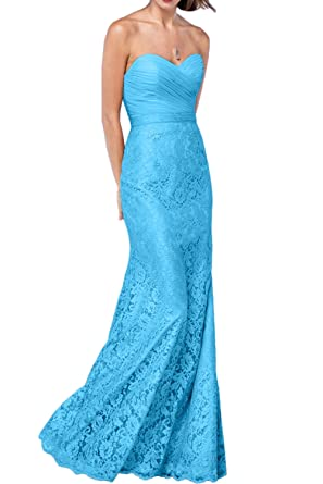 DressyMe Womens Vogue Lace Evening Dresses Strapless Fit Flare Formal Party Gown-2-Blue
