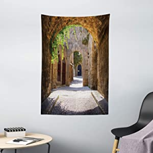 """Ambesonne Tuscan Tapestry, Italian Street in a Small Provincial Town of Tuscan Italy European, Wall Hanging for Bedroom Living Room Dorm Decor, 40"""" X 60"""", Brown Green"""
