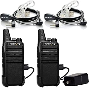 Retevis RT22 Walkie Talkie Long Range,2 Way Radio Rechargeable,Two Way Radio with 2 Pin Earpiece Headset Adults Children Field Camping Driving(2 Pack)