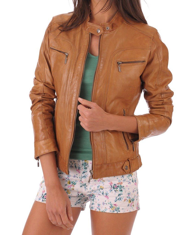 BENJER Skins Women's Lambskin Leather Bomber Motorcycle Jacket Large Camel_Beige