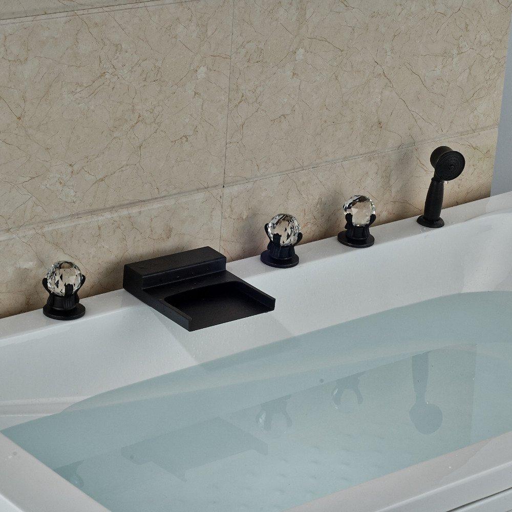 CZOOR Deck montiert Öl eingerieben Broze Badewanne Armatur Wasserfall Ausgießer mit Handbrause