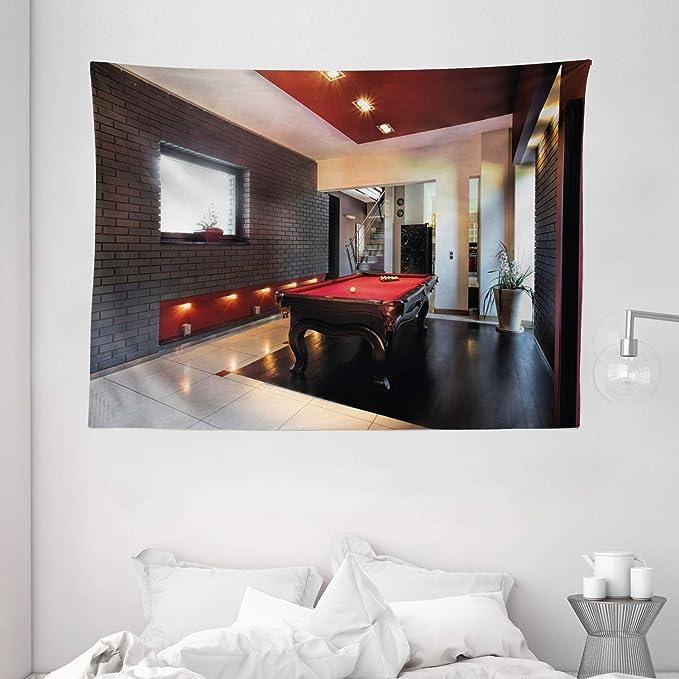 Tapiz Decoración moderna por Ambesonne, casa con Hobby de tapete de billar pool Juego de pie para muebles tiempo de ocio impresión, colgar en la pared para dormitorio salón dormitorio, rojo marrón