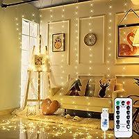 Anpro 3 * 3M 300 LED Luz,Cortina de luces LED,Luz Ventana Decorado para Fiesta,Navidad