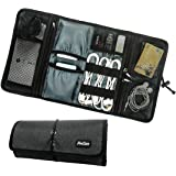 ProCase Travel Gear Organizer Electronics Accessories Bag, Small Gadget Carry Case Storage Bag Pouch for Charger USB Cables SD Memory Cards Earphone Flash Hard Drive -Black