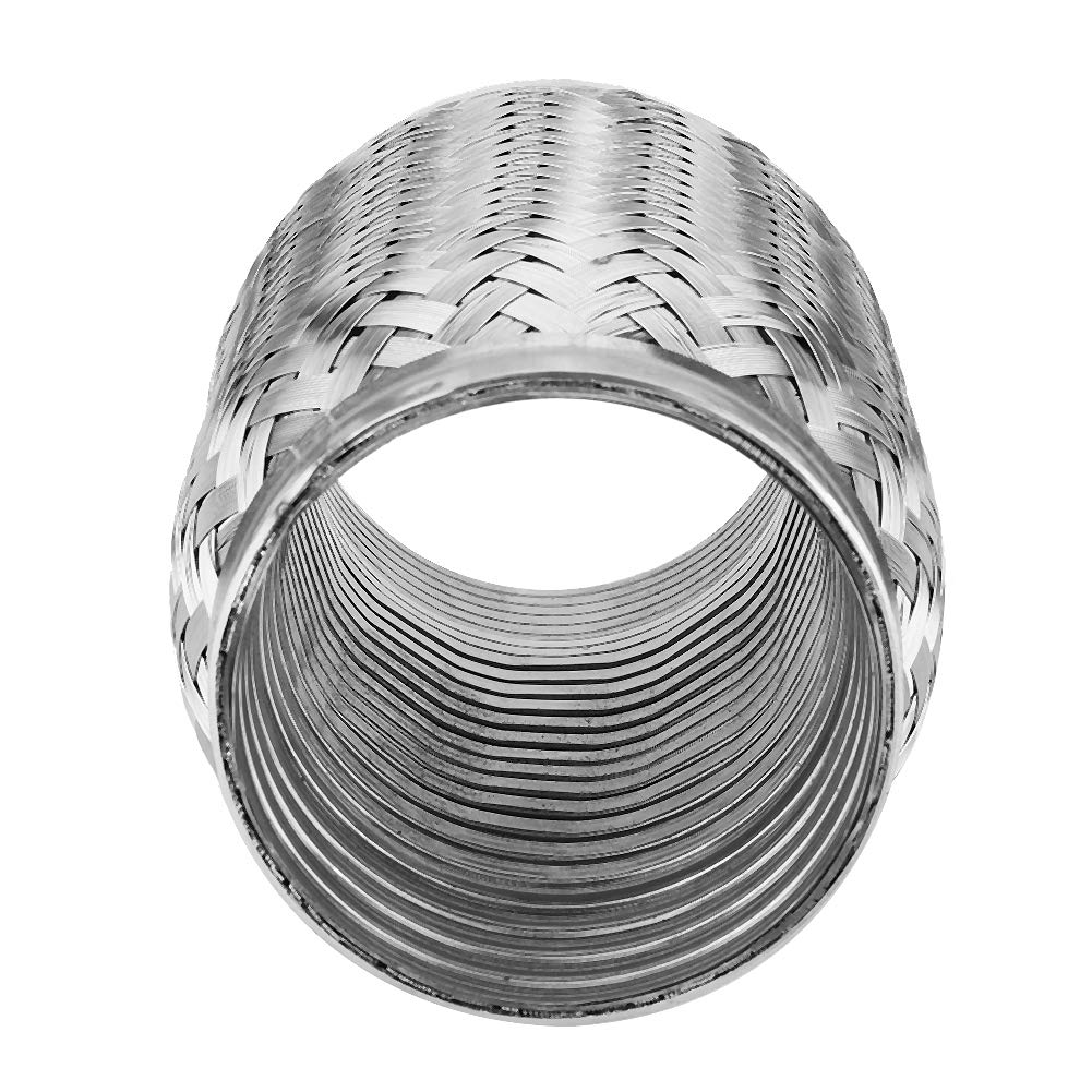 3 6inch Stainless Flexi Pipe Flexible Exhaust Stub with Internal Corrugated Pipe Qiilu Exhaust Flexi Pipe
