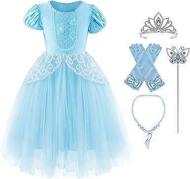 Okidokiyo Little Girls Princess Costume Halloween Party Dress Up