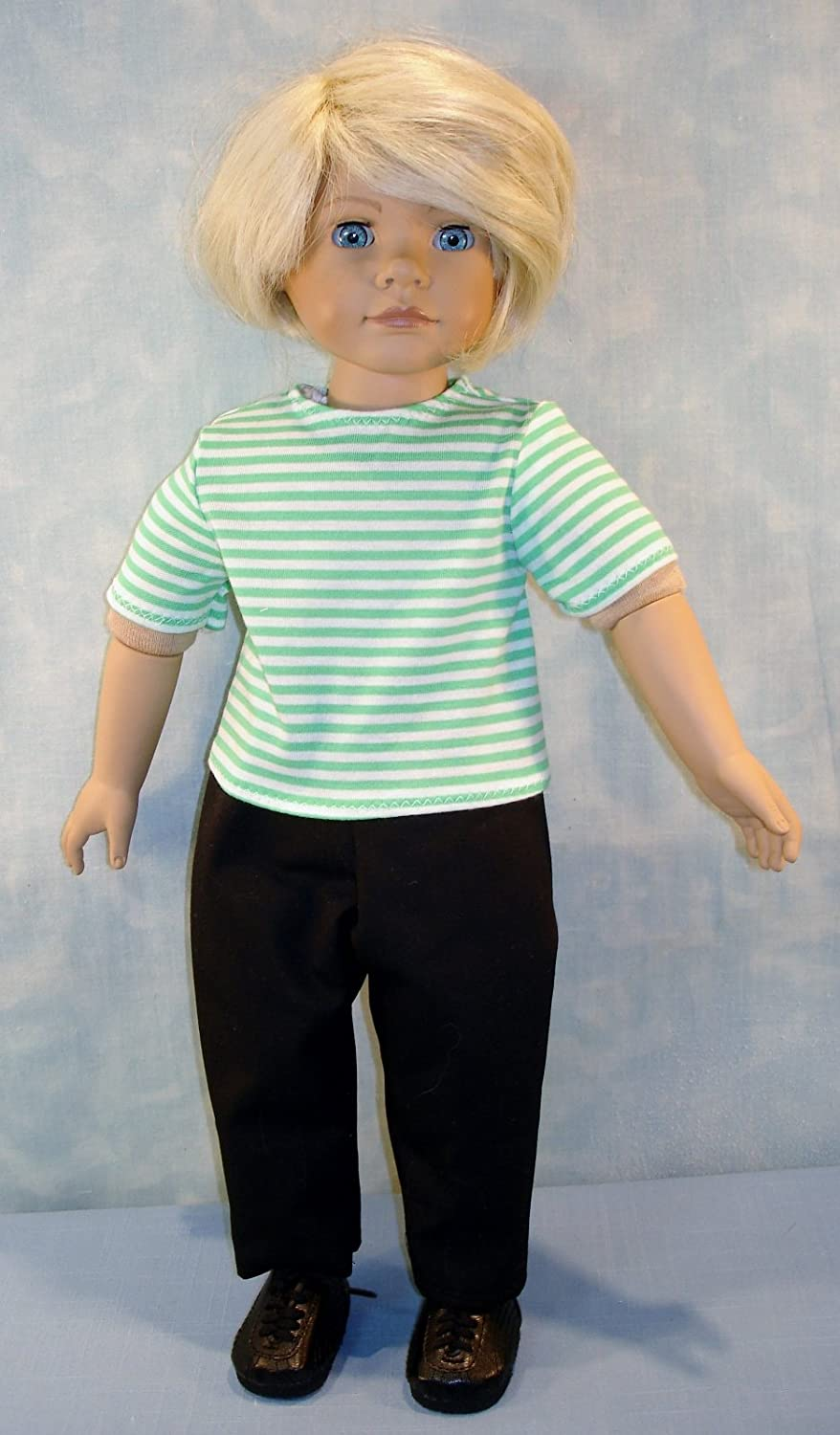 18 Inch Doll Clothes Green and White Striped Boys Pants Set handmade by Jane Ellen