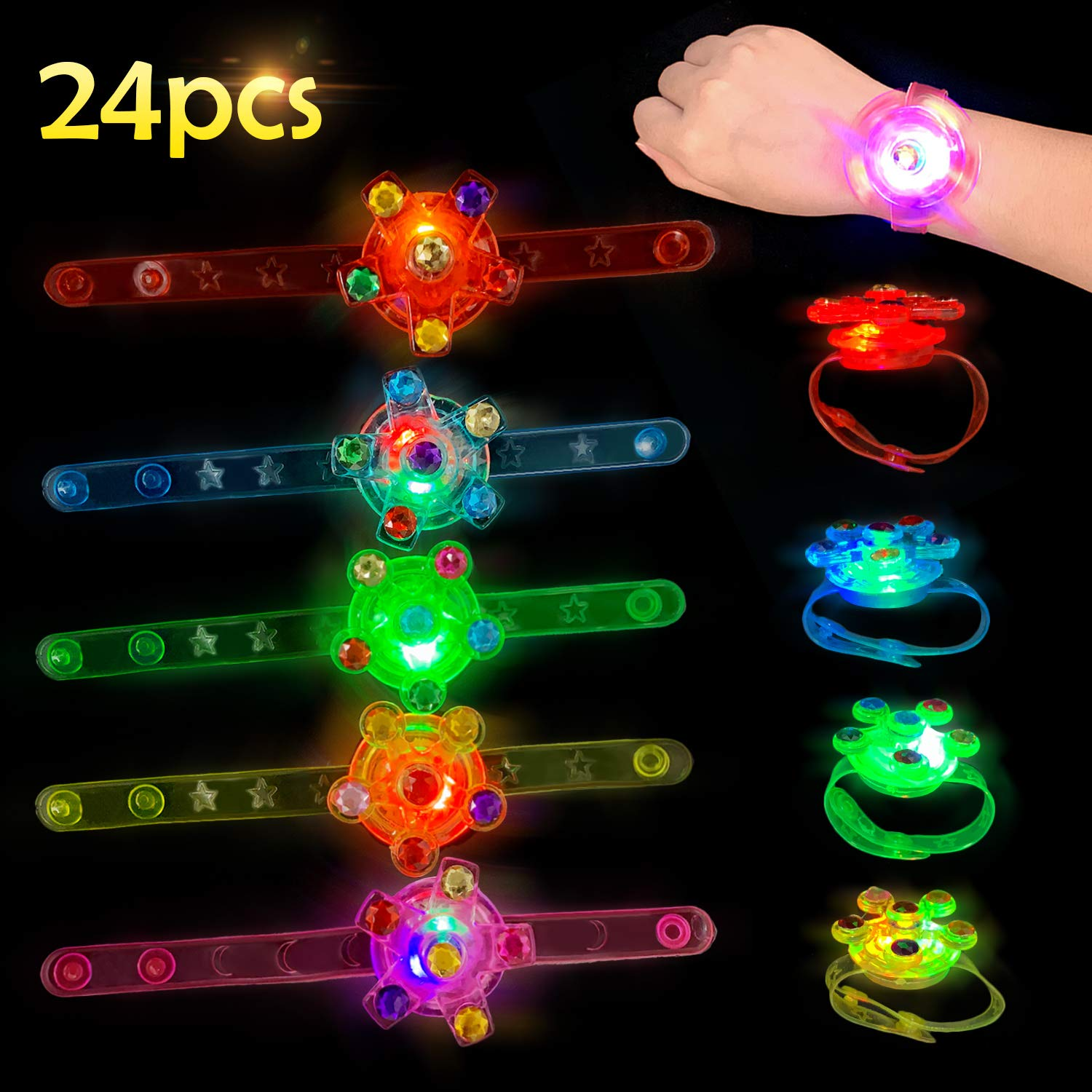 Satkago 24 Pcs LED Light Up Party Favors Bracelets Rings Birthday Glow Toys for Kids Boys by Satkago