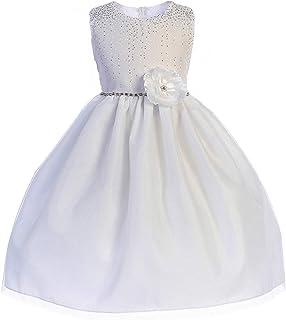 Crayon Kids Big Girls White Glitter Accents Junior Bridesmaid Dress 7-12