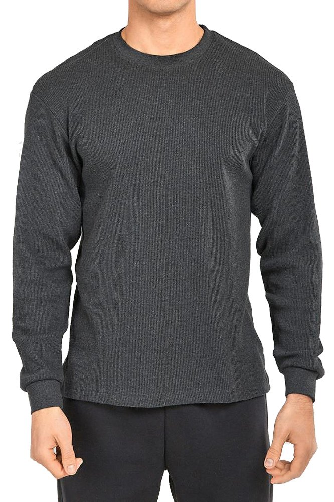 TOP PRO Men's Classic Fit Waffle-Knit Heavy Thermal Shirt (Large, Charcoal) by TOP PRO