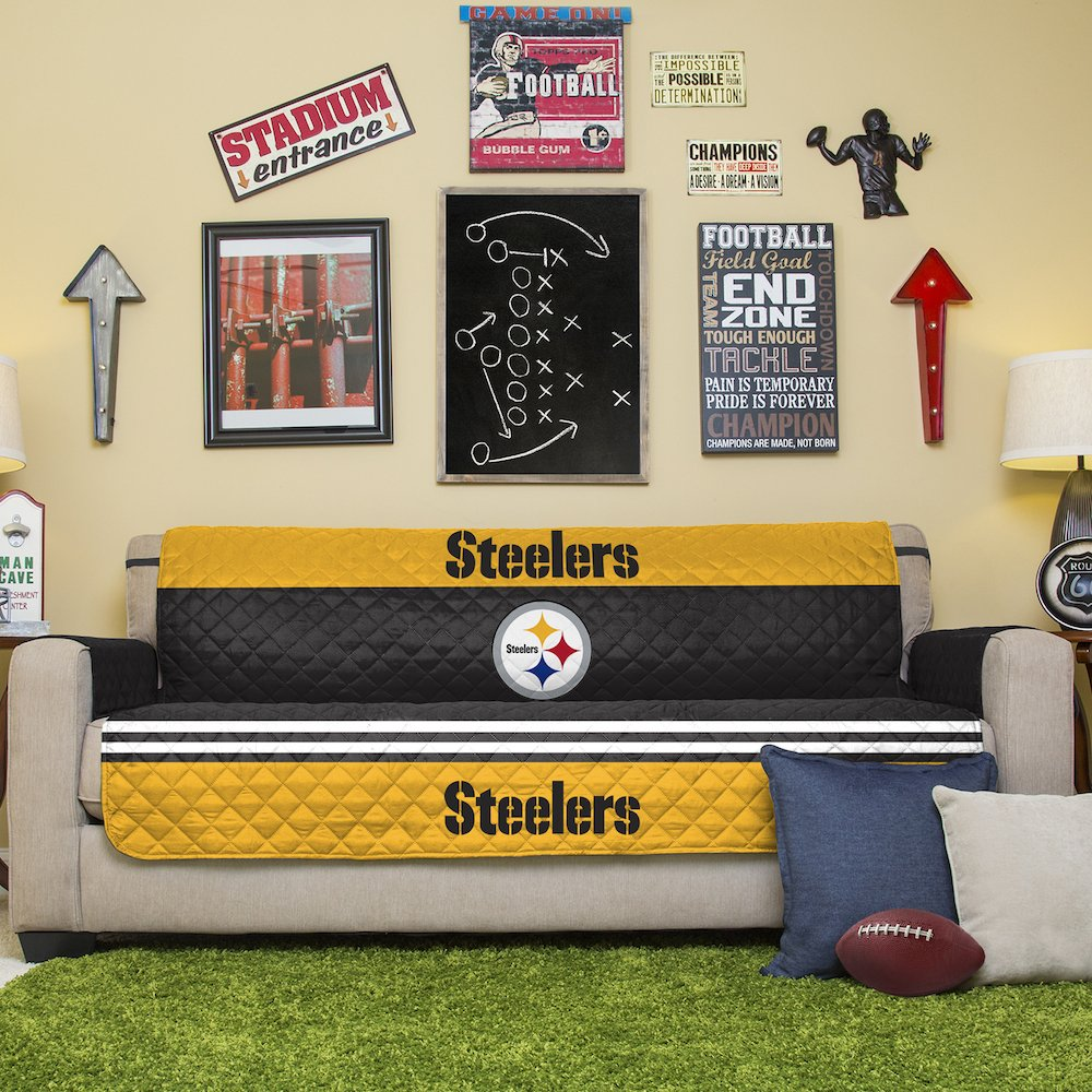 Amazon.com: NFL Pittsburgh Steelers Sofa Couch Reversible Furniture  Protector With Elastic Straps, 75 Inches By 110 Inches: Home U0026 Kitchen