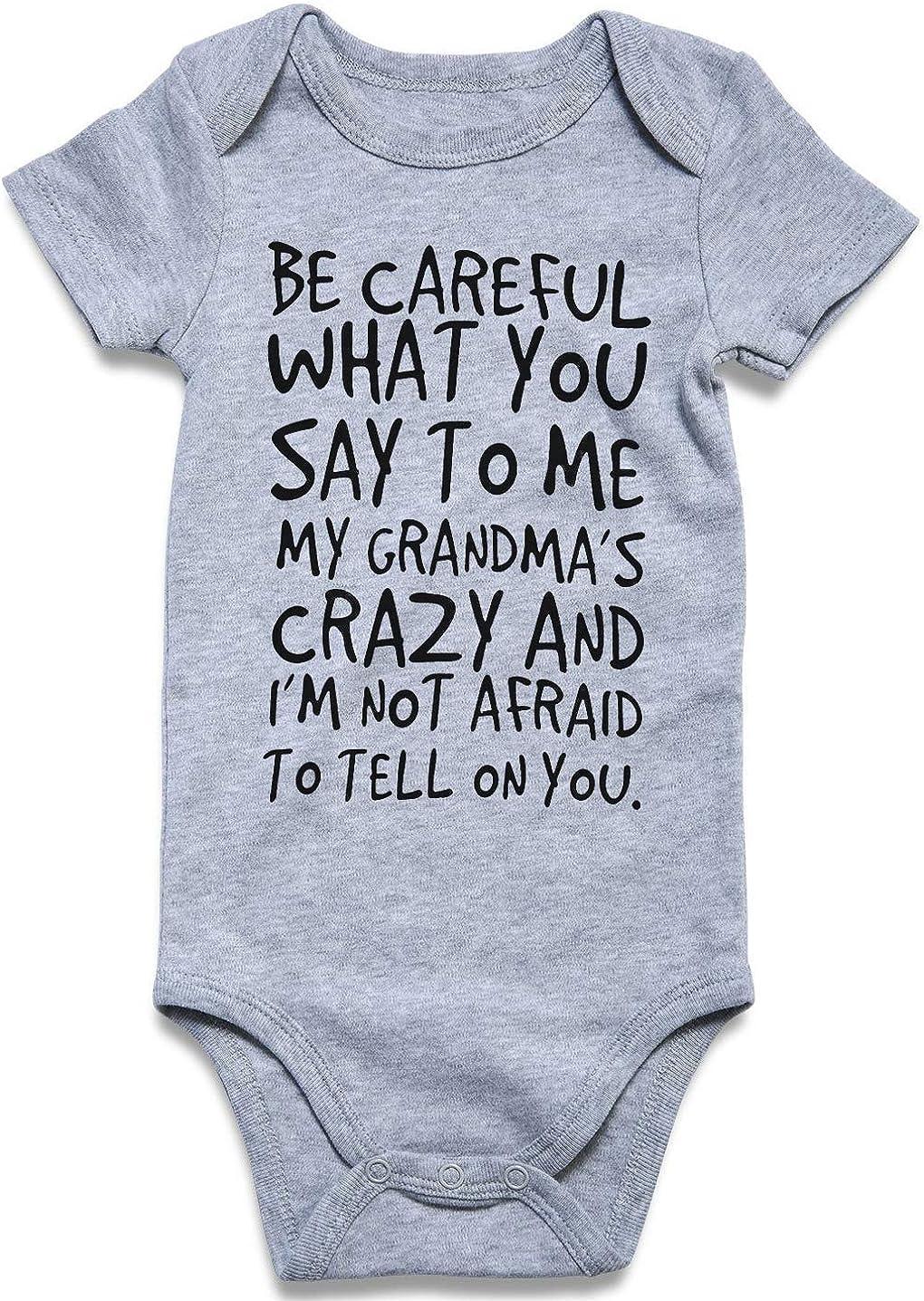 RAISEVERN Unisex Neugeborenes Baby Bodys Baumwolle Strampler L/ässige Kurzarm Overall mit lustigen Worten Einteiliges Outfit f/ür 0-12Monat Junge M/ädchen