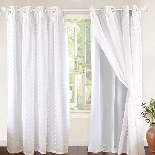 DriftAway Lily White Pinch Pleated Voile Sheer Blackout Curtain Liner Embroidered