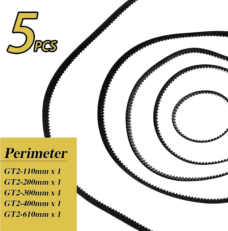 5pcs Correa Dentada GT2 6mm de 5 tama/ños+2pcs Poleas Dentadas de 20 Dientes+1pcs Llave Hexagonal Accesorios de impresora 3D