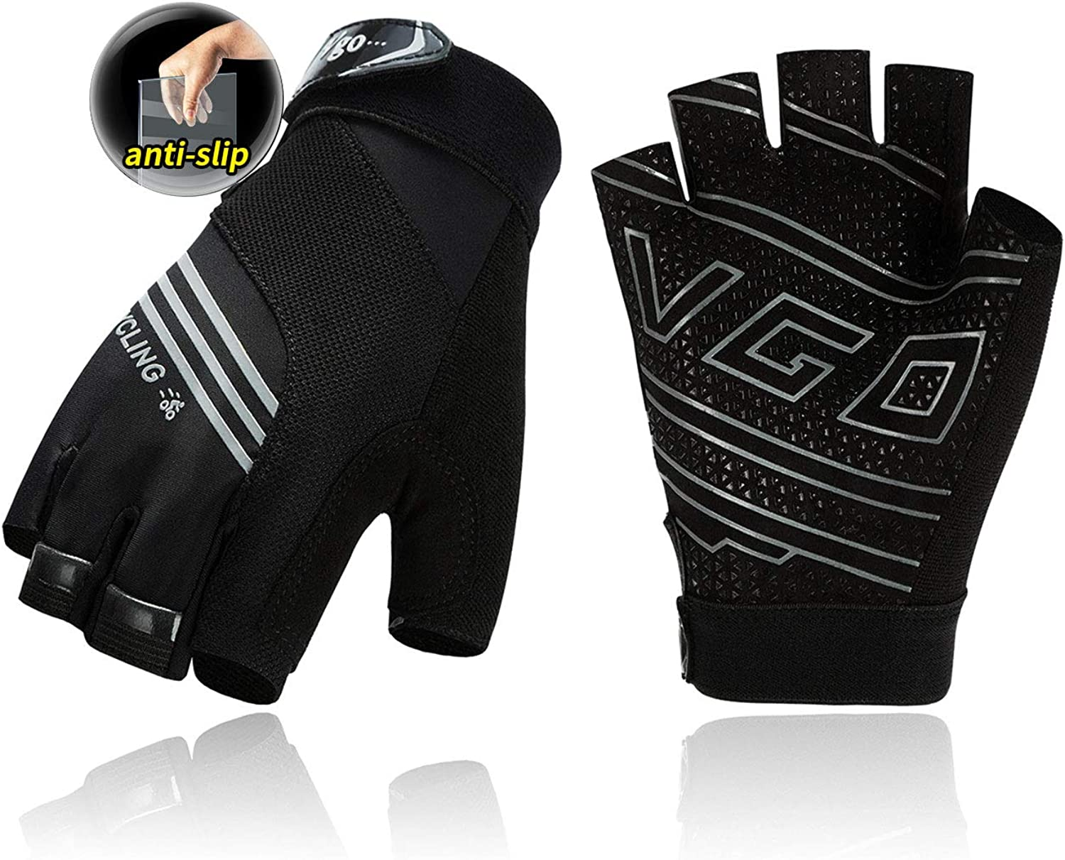 Vgo... 1-Pair Microfiber Half Finger Cycling Gloves, Hiking, Gym, Biking Gloves, High Dexterity, Breathable, Anti-Slip (Gray, Red & Yellow, MF2510)