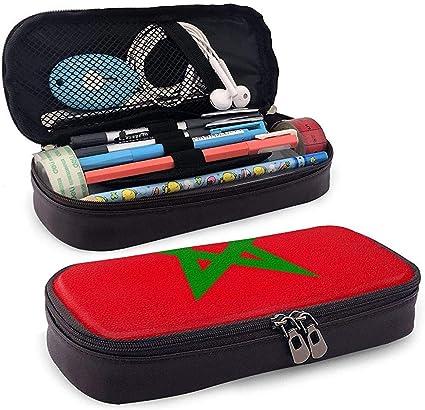 Estuche de lápices original de la bandera de Marruecos - Bolso de cuero de PU de alta capacidad Organizador de papelería Bolso de maquillaje cosmético: Amazon.es: Oficina y papelería