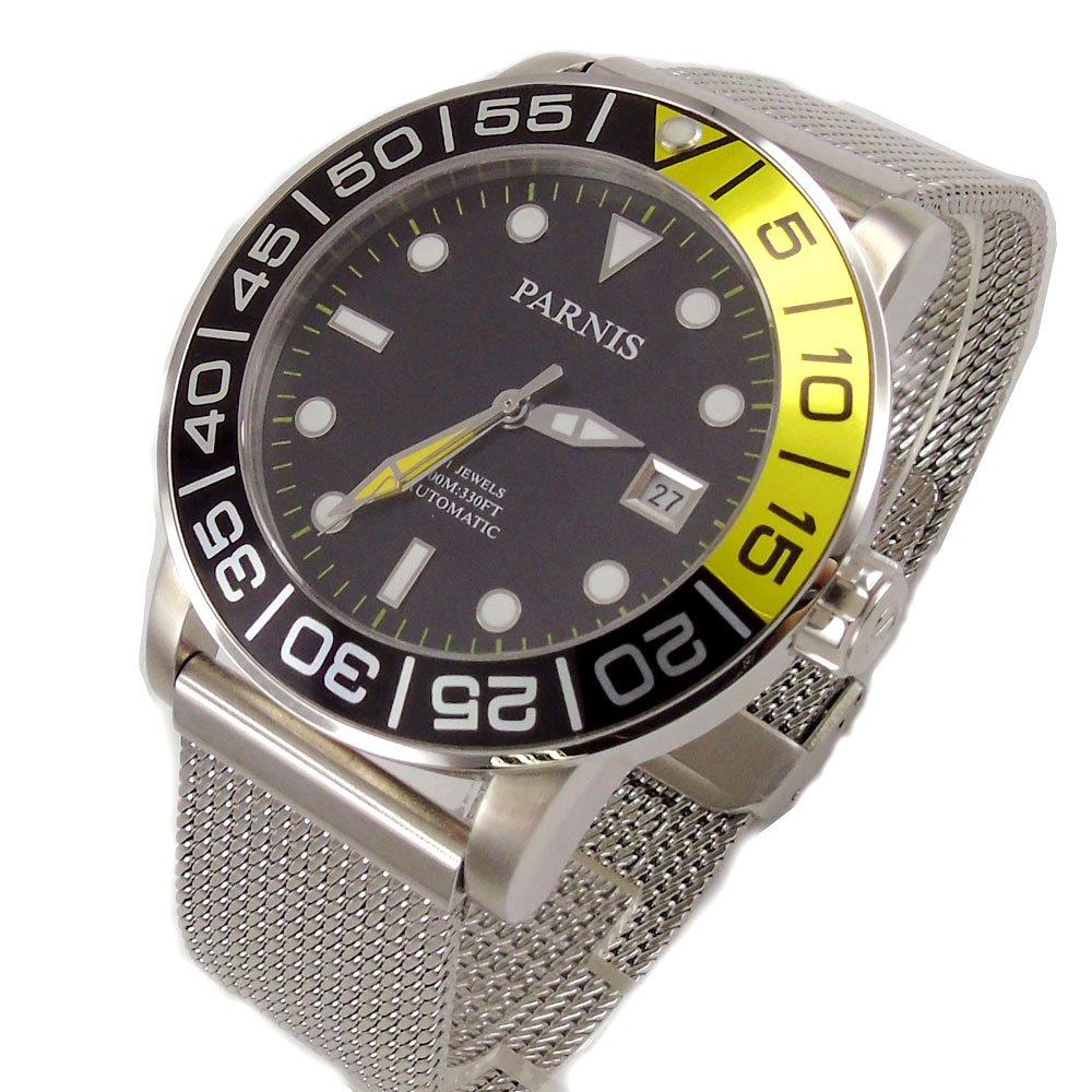 サファイア42 mm Parnis MechanicalメンズウォッチブラックダイヤルセラミックベゼルMiyota automatic movementメンズ腕時計pa814 B07CMV53MK