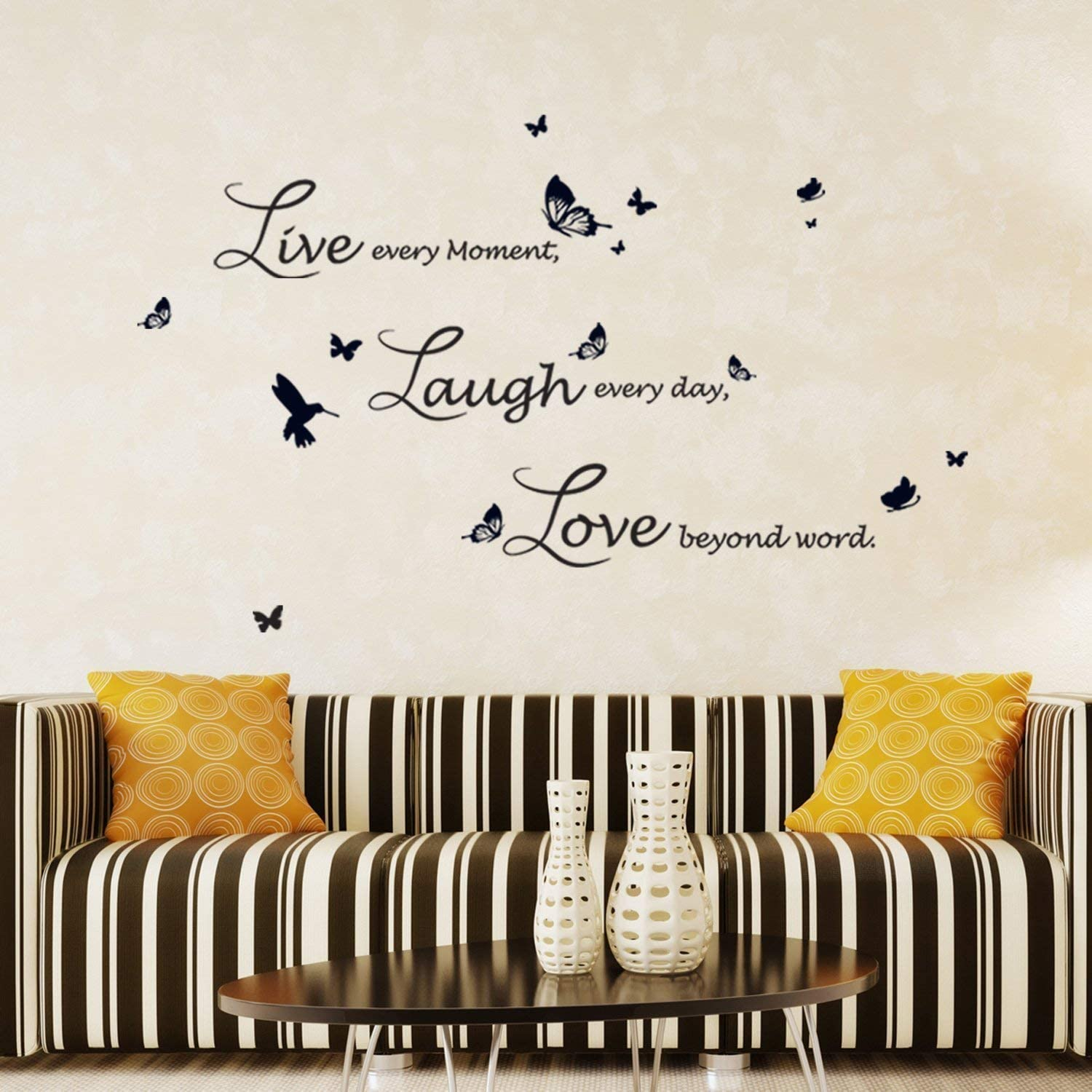 Walplus Wall Stickers Dream Quote Removable Self-Adhesive Mural Art Decals Vinyl Home Decoration DIY Living Bedroom Office D/écor Wallpaper Kids Room Gift Black