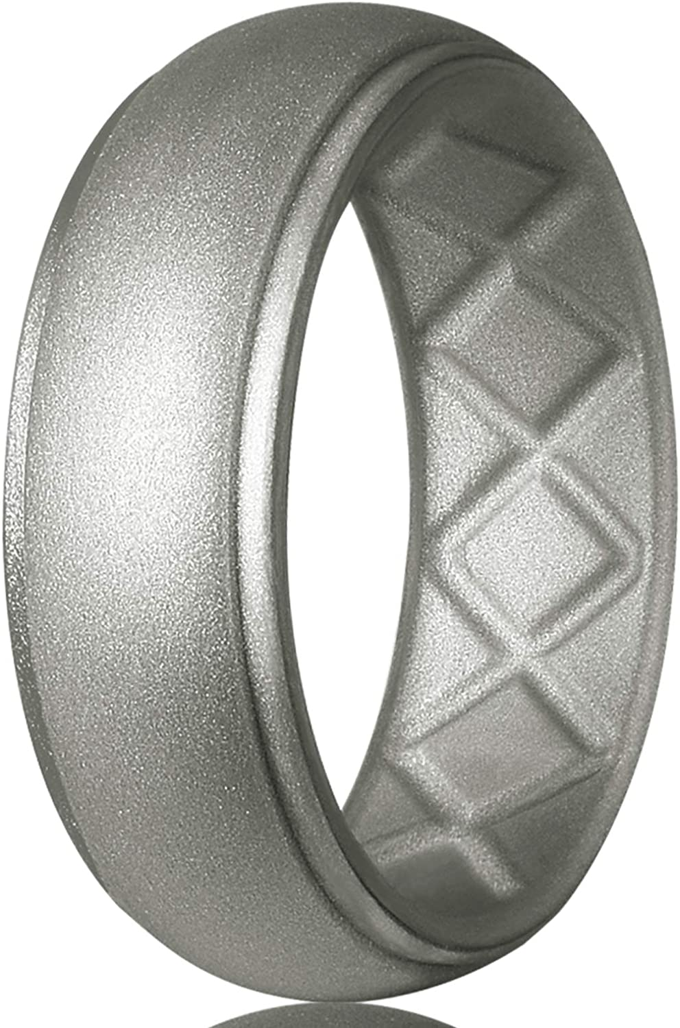 Egnaro Silicone Ring for Men, 7 Rings / 4 Rings / 1 Ring Step Edge Rubber Wedding Bands 8.5mm Wide - 2.5mm Thick