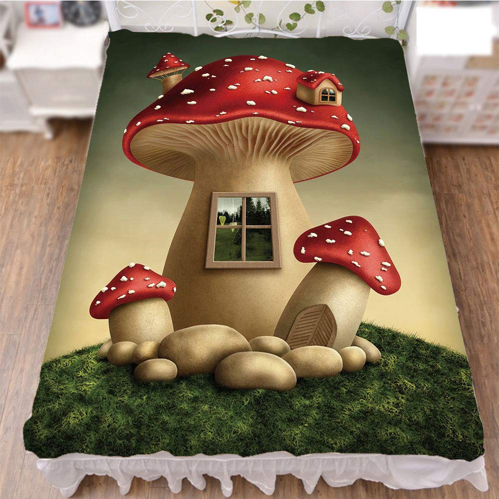 Bedding Bed Ruffle Skirt 3D Print,House in Fantasy Forest Cottage Window Surreal,Fashion Personality Customization adds Color to Your Bedroom. by 90.5''x96.5''