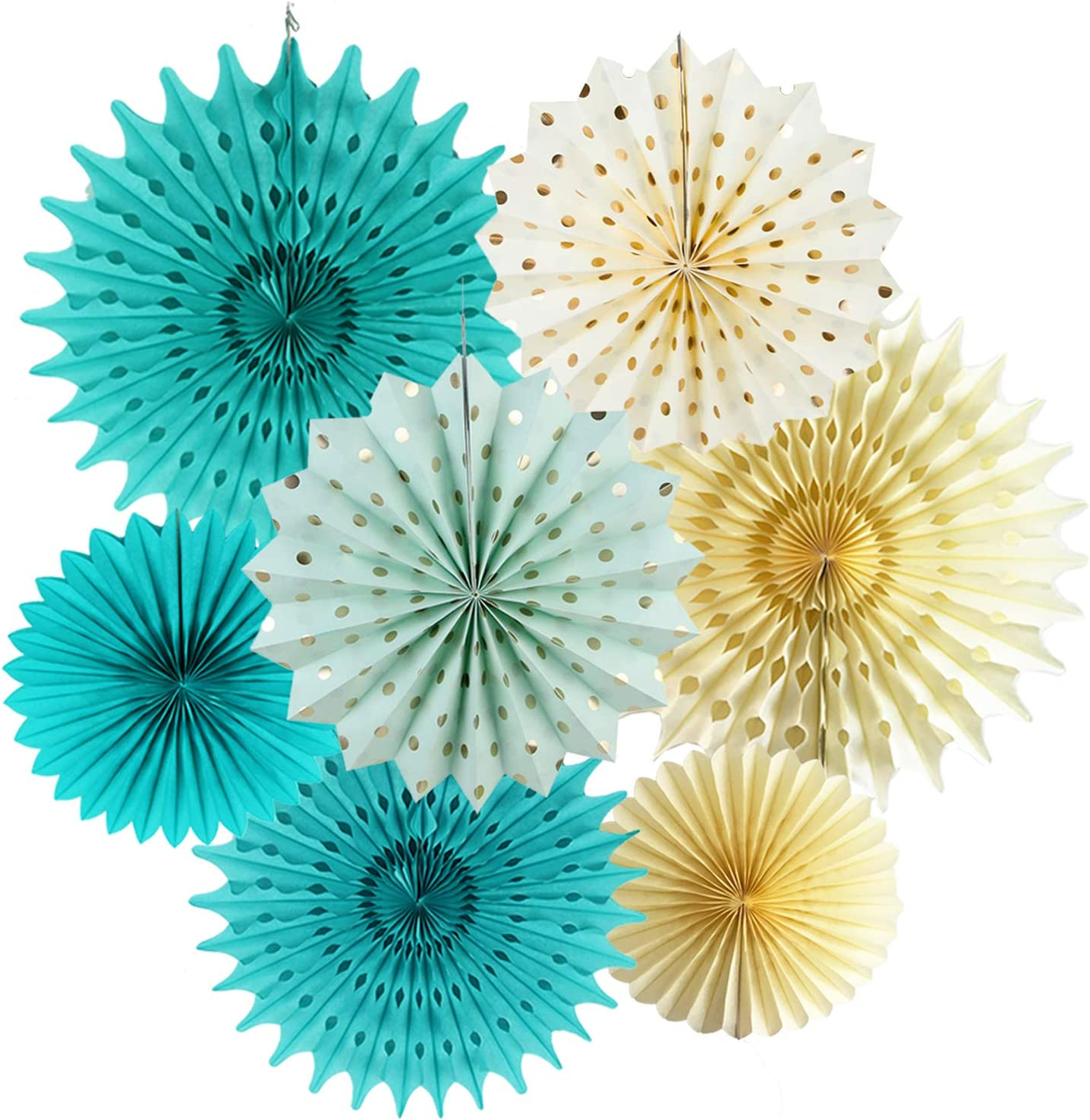 Teal Gold Party Decorations Cream Mint Gold Polka Dot Paper Fans for Teal Bridal Shower Decorations Teal Gold Wedding/Teal Gold First Birthday Decorations
