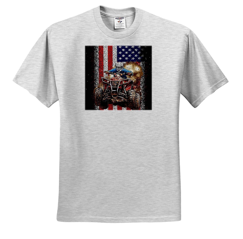 3dRose Sven Herkenrath Quad Adult T-Shirt XL ATV Quad Offroad with United States Flag America ts/_319028