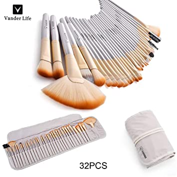 VANDER Makeup Brushes 32 Pieces Professional Makeup Brush Set Synthetic Kabuki Foundation Blending...