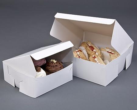 Juego de 50 cajas de cartón plegables para repostería, 200 x 200 x 75 mm aproximadamente, color blanco: Amazon.es: Hogar