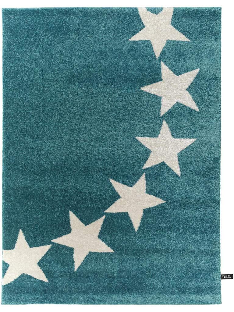 Benuta Teppich Avalon Stars Blau 120x170 cm   Moderner Teppich für Wohn- und Schlafzimmer