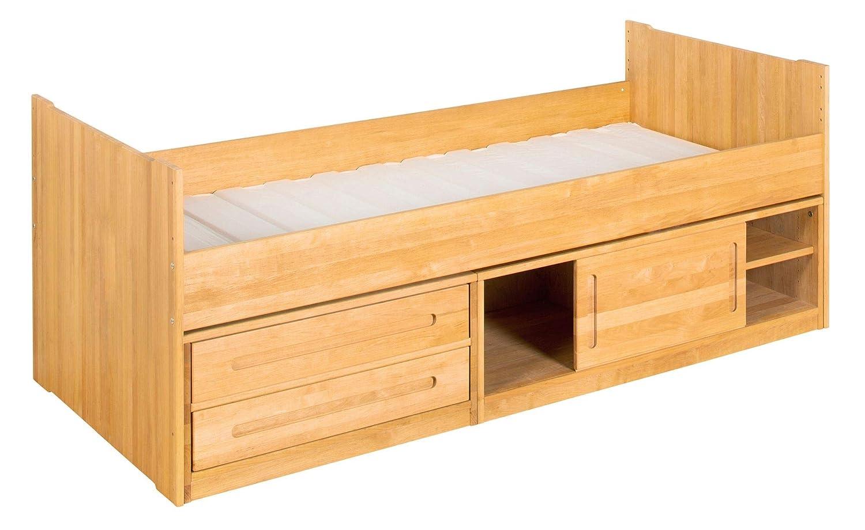 BioKinder Kojenbett Bett Funktionsbett Kommodenbett mit Schiebetür, 2 Schubladen und Lattenrost Lina aus Massivholz Erle 90 x 200 cm