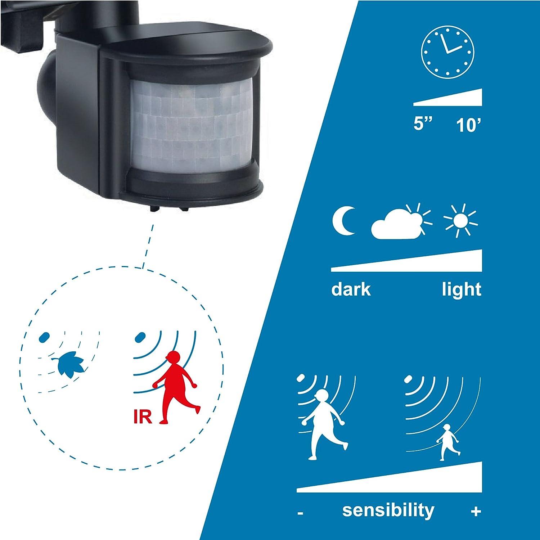 Electraline 63006 color negro IP44, 8500 l/úmenes, 400 W Proyector hal/ógeno con sensor de movimiento