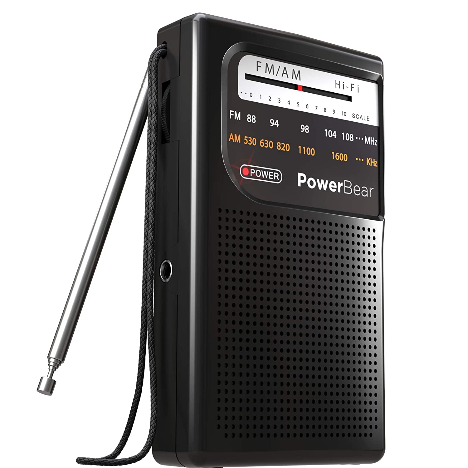 PowerBear AM FM Portable Radio | Battery Operated, Long Range, Handheld
