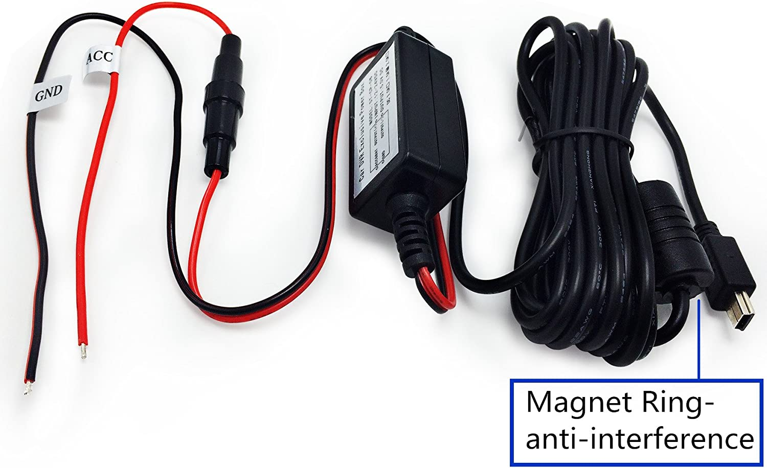 Arpenkin HardWire Kit Mini USB 12V to 5V Magnet Ring Anti-Interferance Power Adapter Cord Cable Mini USB GT680W Compatible for Rexing V1 G1WH A119 A119S A118 A118C A118C2 B40 G1W G1W-C
