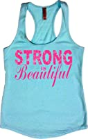 Orange Arrow Womens Workout Tops - Strong Is Beautiful - Crossfit Tank Top With Sayings