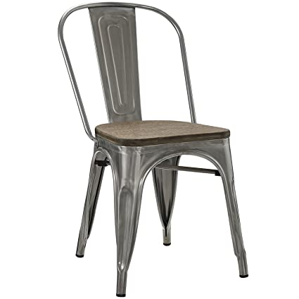 Modway Promenade Side Chair, Gun Metal