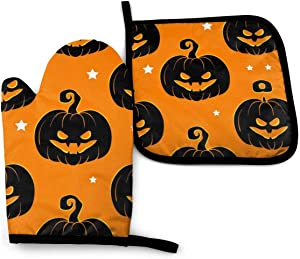 Halloween Pumpkin Oven Mitts and Pot Holders Sets Heat Resistant Holiday Decor Oven Gloves with Non-Slip Surface for Reusable for Baking BBQ Cooking