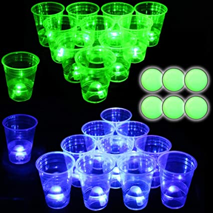 Glow in The Dark Beer Pong Set-Light up Beer Pong Cups for Indoor Outdoor Nighttime Competitive Fun,22 Glowing Cups 11 Green /&11 Blue 6 Glowing Balls- Party Game