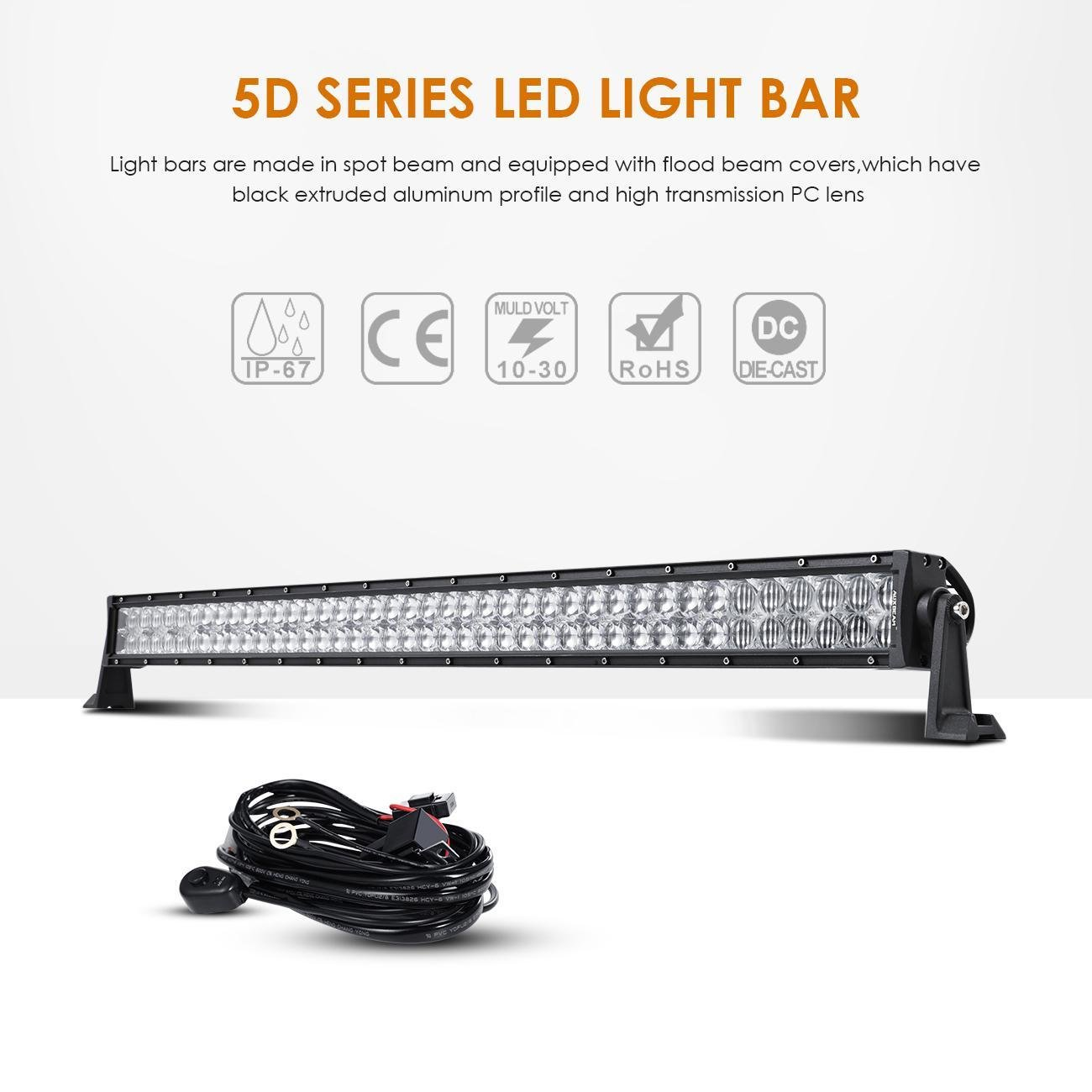 Auxbeam 42 Led Light Bar 240w Spot Flood Combo Off Road Cree Lighting Wiring Diagram Lights Driving Work 5d Lens Harness Car Suv Utv Atv Pickup