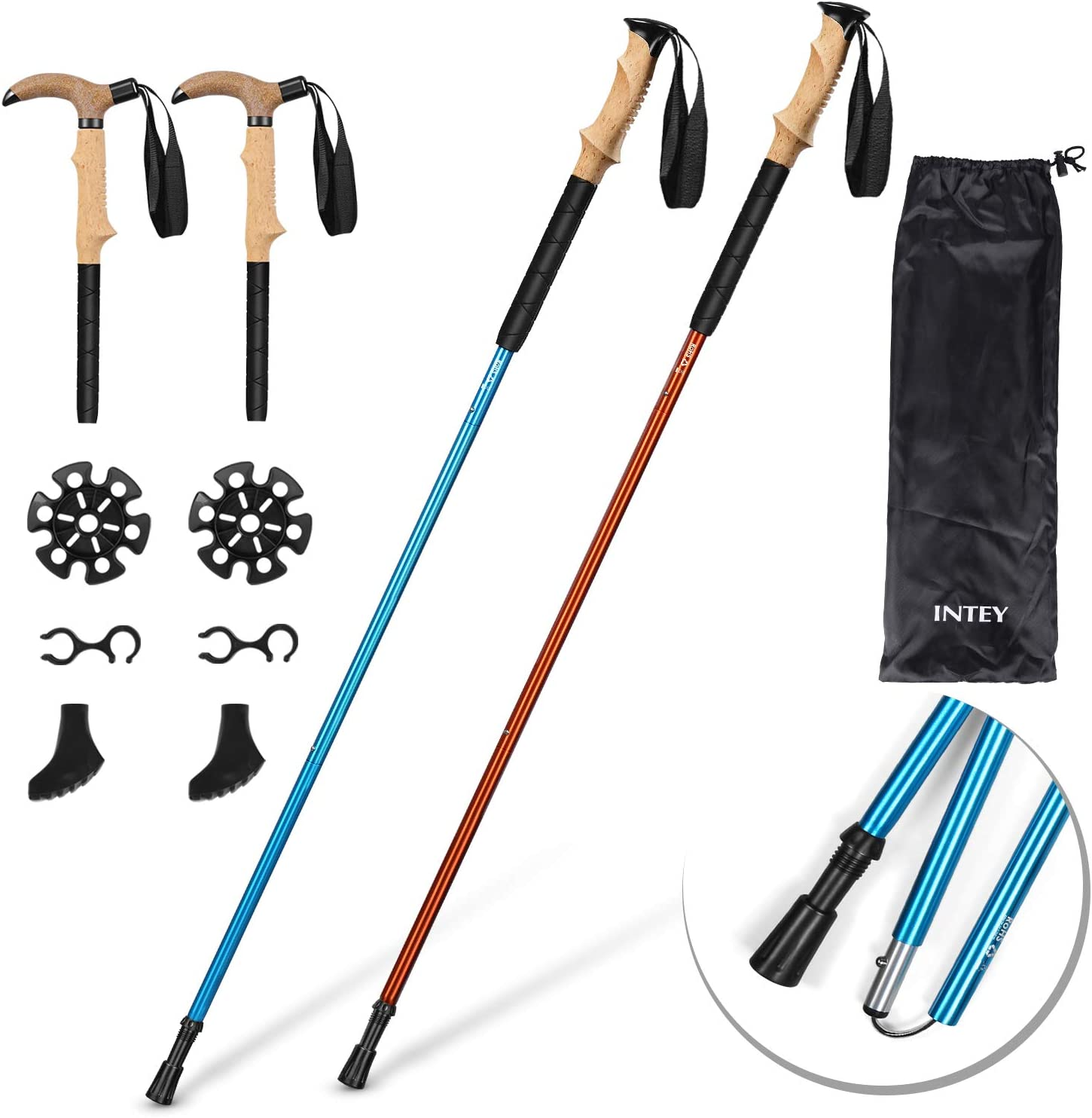 INTEY Trekking Poles, 2 Pack Collapsible Hiking Walking Sticks, Anti Shock, Lightweight Aluminum, Adjustable Strap, Push-Lock, Ergonomic Grip