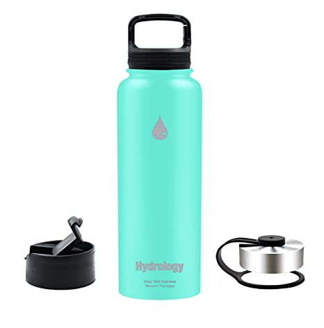 dec2ed1ffa Hydrology - 32 oz, 40 oz with 3 LIDS or 64 oz with 2 LIDS Double Wall  Vacuum Insulated Stainless Steel Hydro Sports Water Bottle Flask - Keeps  COLD and HOT