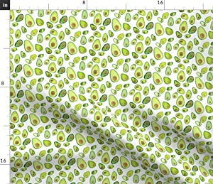 Spoonflower Fabric - Watercolor Avocado Painted Print Garden Green Food Veggie Printed on Petal Signature Cotton Fabric by The Yard - Sewing Quilting Apparel Crafts Decor