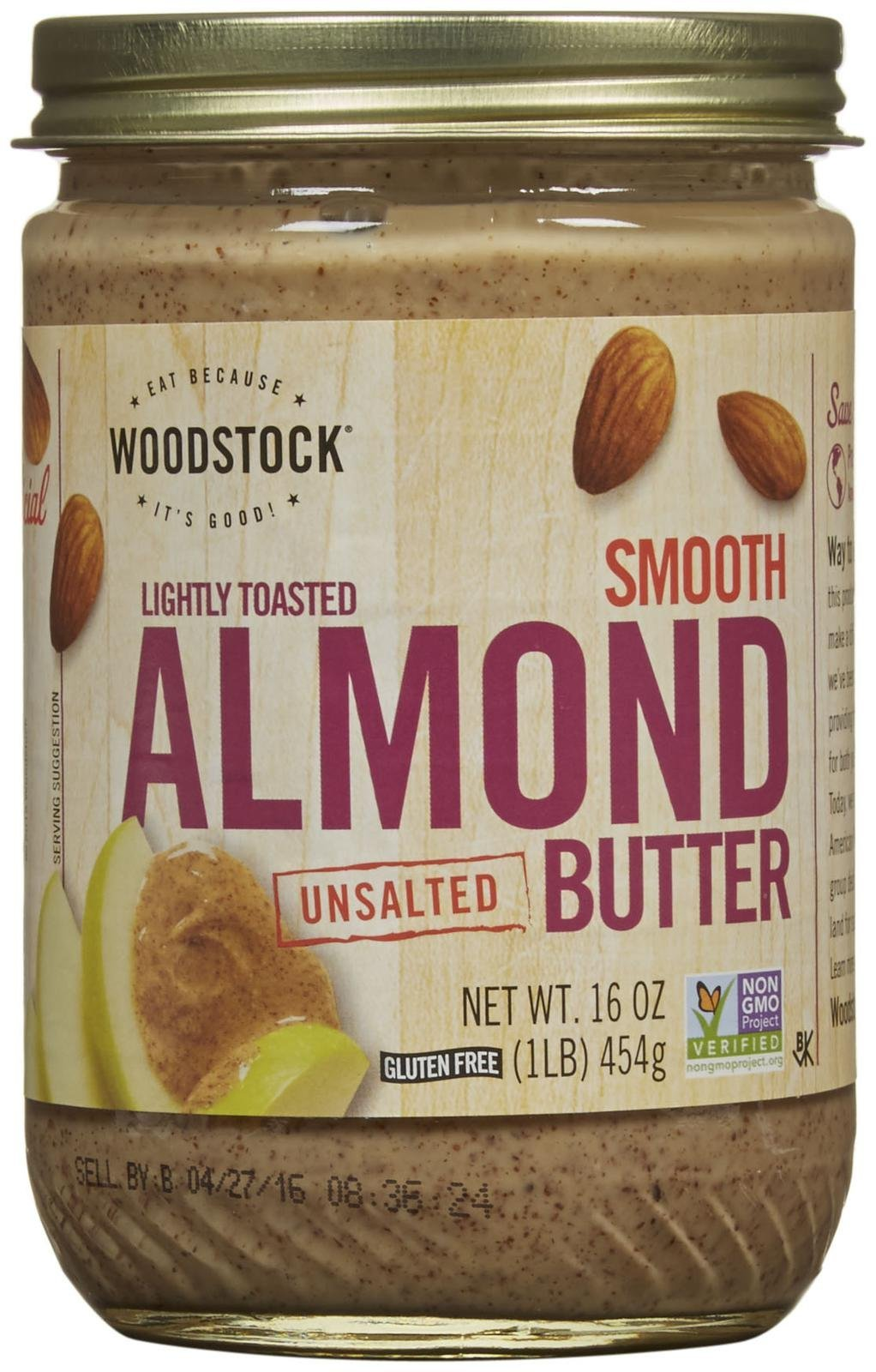 Woodstock Farms Lightly Toasted Almond Butter, 16 Ounce (Pack of 12)