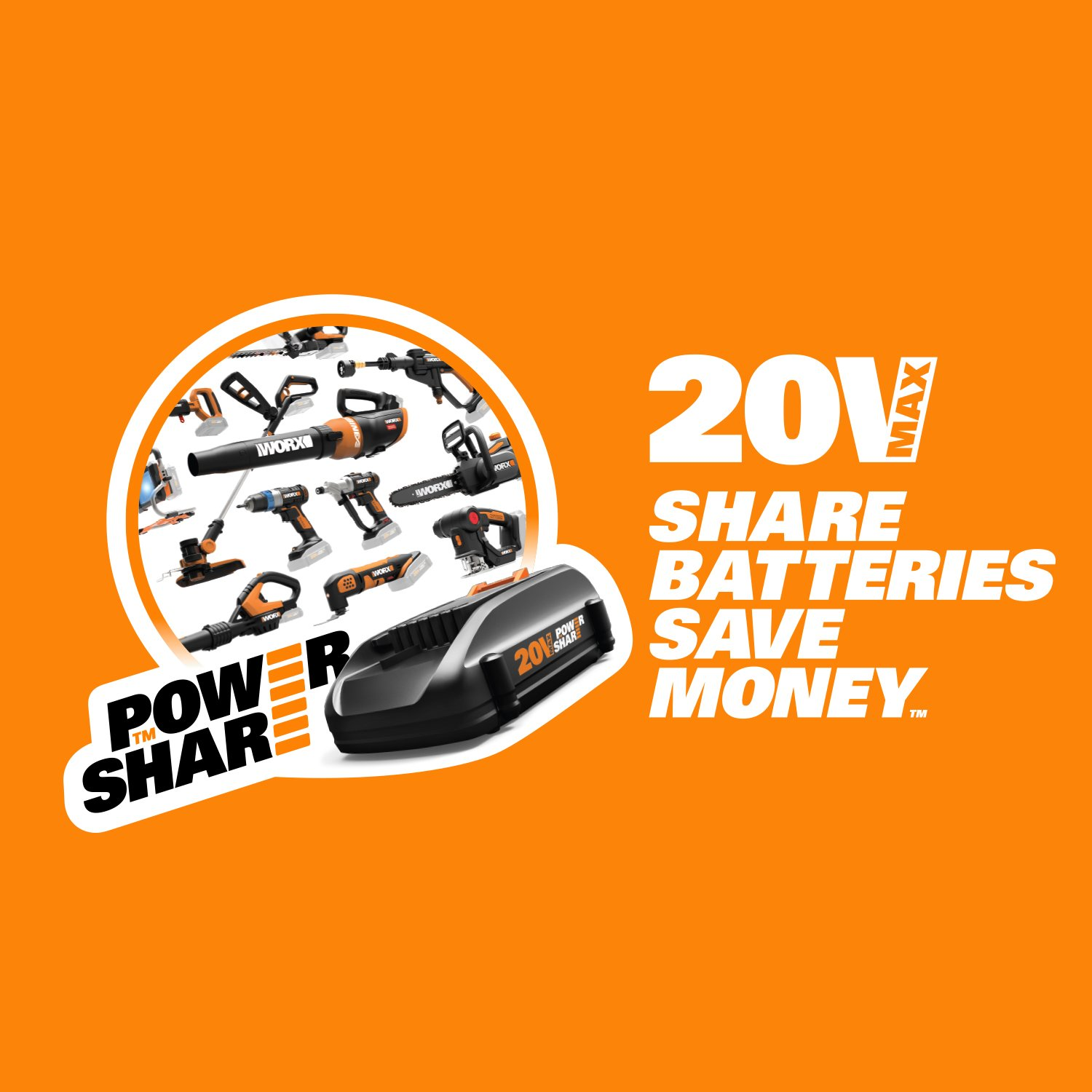 Worx WG255.9 20V PowerShare 20'' Cordless Electric Hedge Trimmer (Tool Only)