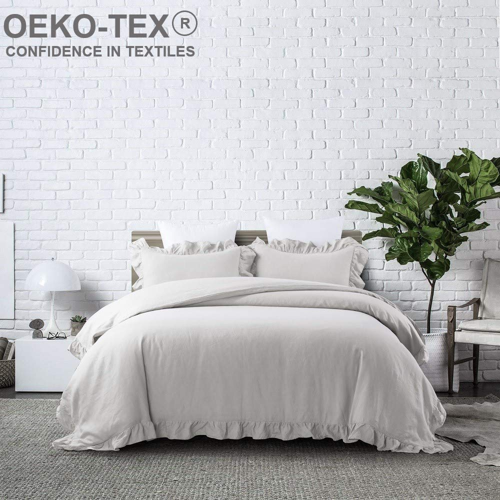 meadow park Stone Washed French Linen Duvet Cover Set 3 Pieces - Super Soft, Queen 90 inches x 94 inches - Shams 20 inches x 26 inches, Ruffled Style - Button Closure - Corner Ties, Khaki