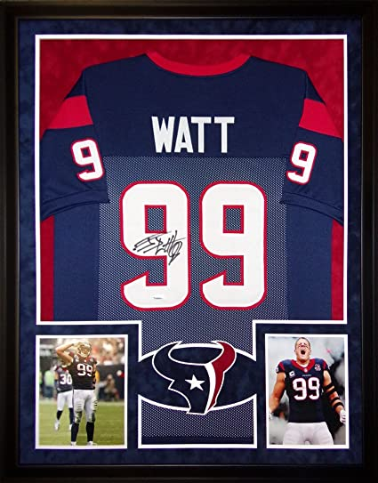 9e8455412b6 Image Unavailable. Image not available for. Color  JJ Watt Houston Texans  Autograph Signed Custom Framed Jersey Suede Mat Tristar Authentic Certified